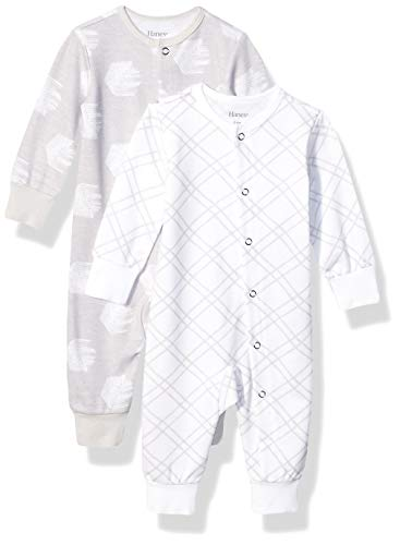 Hanes Ultimate Baby Flexy 2 Pack Sleep and Play Suits, Grey Fun, 12-18 Months