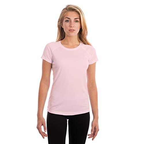 Vapor Apparel Damen Atmungsaktives UPF 50+ UV Sonnenschutz Kurzarm Funktions T-Shirt X-L Blüten Pink