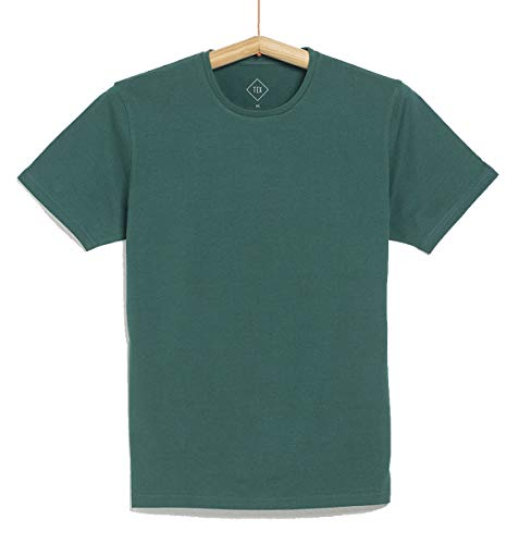 TEX - Camiseta Lisa de Manga Corta para Hombre, Verde, XXL
