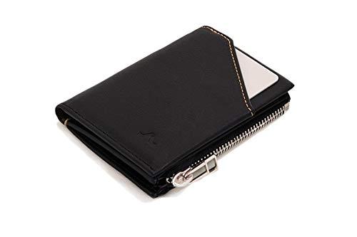 ROIK Zip - Schlanke Leder Geldbörse mit Kleingeldfach mit Reißverschluss für Männer, Farbe Black