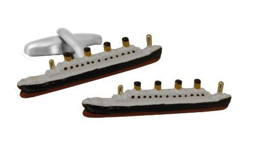 Titanic Boutons de Manchette - CU0114 - Homme - Plaqué Rhodium - Verre