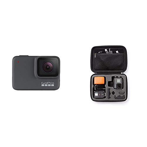GoPro HERO7 Silber – wasserdichte Digitale Actionkamera mit Touchscreen, 4K-HD-Videos, 10-MP-Fotos & AmazonBasics Tragetasche für GoPro Actionkameras, Gr. S