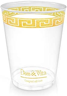 Dom & Vita 10 oz Gold Plastic Cups Bulk |Quality Crystal Clear Tumblers with Beautiful Patterned Gold Rim | Disposable Gold Rimmed Birthday Bar Wedding Cups | Reusable Party Decorations (16) [並行輸入品]