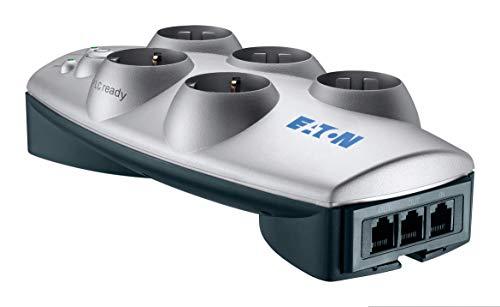 Eaton Protection Box 5 Tel@ DIN - stekkerdoos met overspanningsbeveiliging (5-voudige Schuko-aansluiting, schakelbaar, telefoonbescherming) - zilver