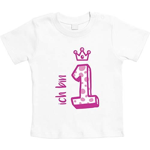 Rosa Krone Ich Bin 1 Jahr Geburtstag Mädchen Unisex Baby Thirt 12-18 Monate Weiß