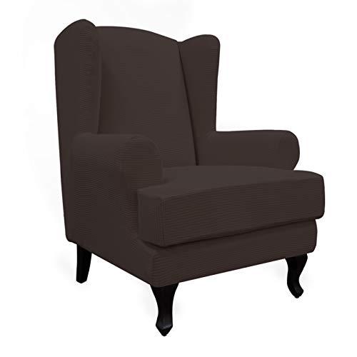 易行动拉伸翼展椅子沙发套装2件件沙发盖家具保护器柔软带有弹性底,氨纶提花织物小型检查,巧克力