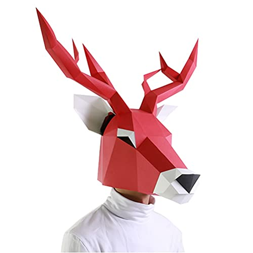 SRQHMXSF Halloween Anime Cosplay, DIY 3D Origami ELK MÁSCARA, APORTAS DE Cosplay DE LA Navidad, Modelo de Juguetes de Regalo Unisex COS Cosplayers ( Color : Red , Size : 54cmX51cmX41cm )