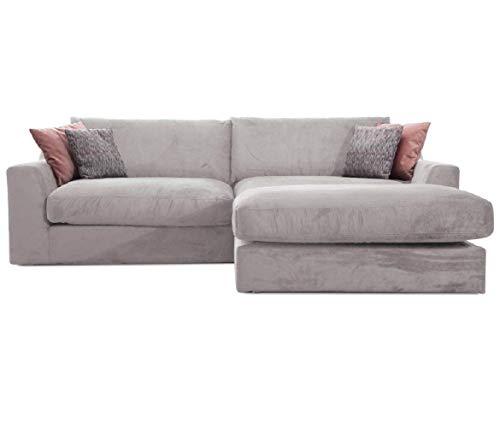 Cavadore Ecksofa Fiona mit Recamiere rechts/Große Eckcouch inkl. Rückenkissen im modernen Design / 277x90x199 / Webstoff Hellgrau