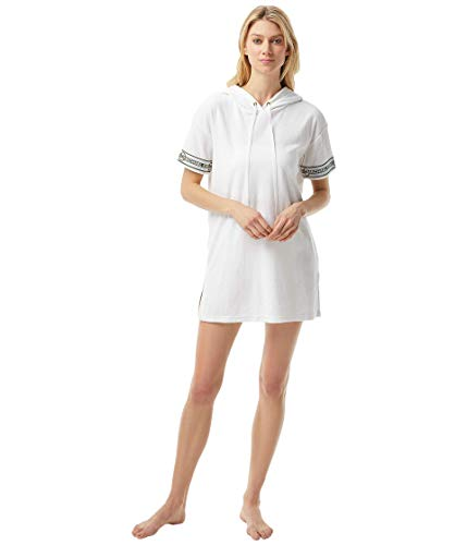 Michael Michael Kors Solid Terry Cover-Up Hoodie Dress White MD