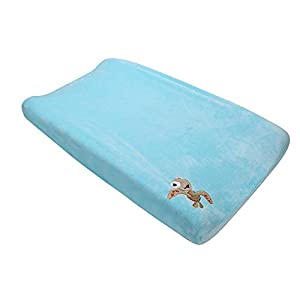 Coral Velvet Nursery Diaper Changing Table Cover Baby Girl Baby Boy Diaper Changing Pad Cover 1PC (Blue Turtle)