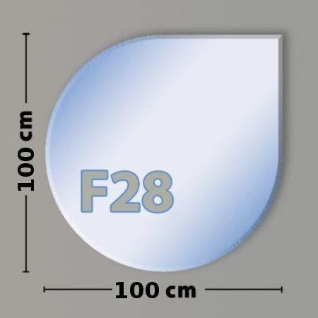 Tropfenform F28 Funkenschutzplatte - Glasplatte aus Sicherheitsglas