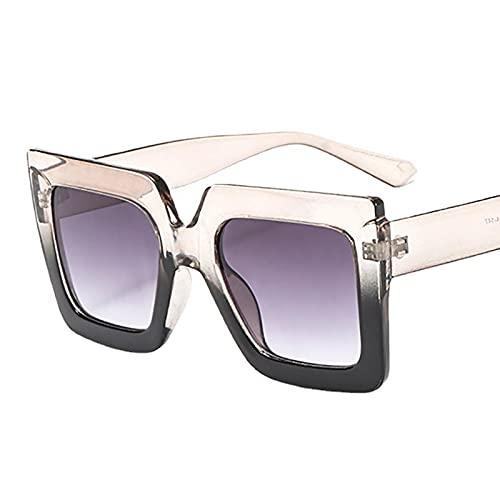 XUANTAO Moda Personalidad Big Square Frame Gradient Dos Tonos Gafas De Sol Moda Gafas De Sol Bisagra Metal Textura Gafas Superior Champagne e Inferior Negro