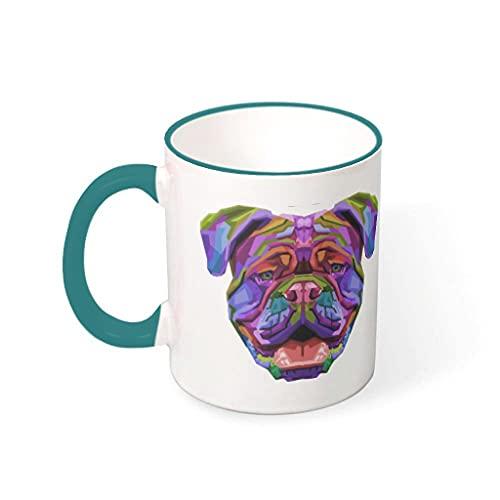 OwlOwlfan Colorido Bulldog Inglés Colorido Taza De Cerámica De Color Divertido Tazas De Café Taza De Té Con Mango Para Cafetería Bar Para Mujeres Hombres Verde Verde Azulado 3