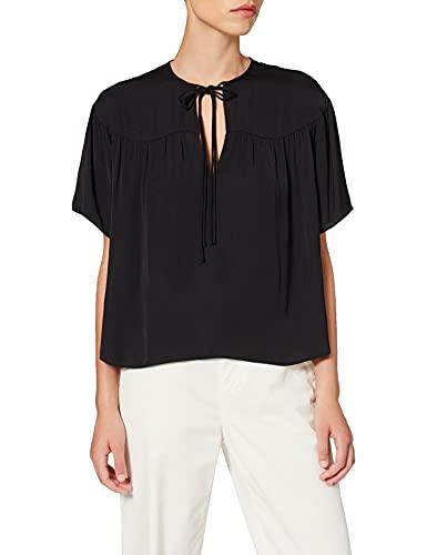 Scotch & Soda Drapey Short Sleeve Top Blouse, Black 0008, S Femme