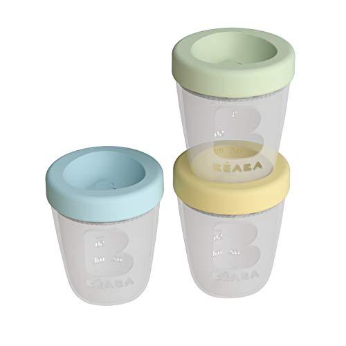 BÉABA Botes de Conservación en Silicona para la Comida del Bebé Juego de 3 100% Herméticos Apilables y Encajables Congelación/Descongelación Microondas Graduados 200ml Primavera