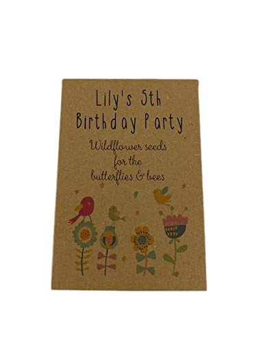 10 x Wildflower Seed Birthday Party Bag Fillers - Personalised with Your Child's Name & Birthday