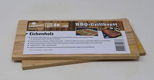 Landree® BBQ Eiche Grillbrett Räucherbrett Planks Set 2Stk mehrfach verwendbar (!) (Eiche)