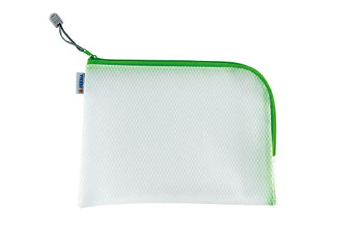 HERMA 20010 Zip Toiletry Bag A5, Transparent (26 x 20 cm) Small Zippered Travel Pouch for Cosmetics, Liquids, Make-up, Toothbrush, Clear Cosmetic Bag with Zipper in Green
