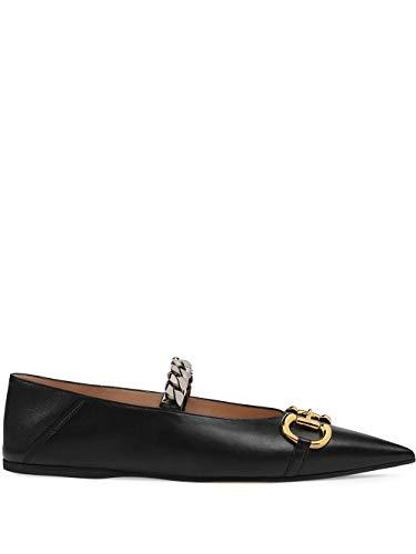 Luxury Fashion | Gucci Dames 6211611RH001000 Zwart Leer Ballerina's | Lente-zomer 20