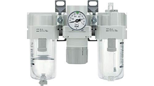 SMC AC-A Series F.R.L. Eenheid, 20 lichaamslengte, 1/8 inch (BSPP-aansluiting, met ronde drukmeter met grendaanduiding, T-interface, 3 aansluitingen, metalen schaal, 1/8 inch afvoerleiding
