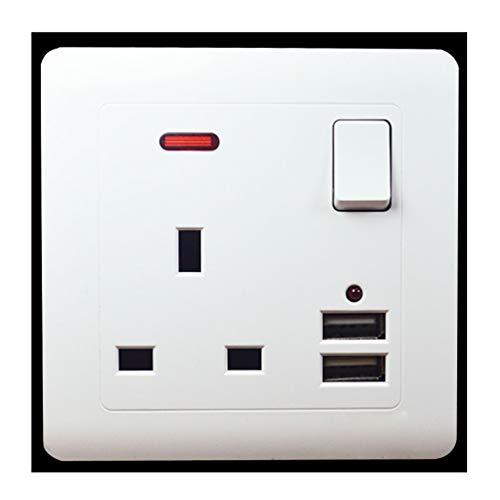 JADETIGER 86 - Enchufe de pared USB doble 13 A con interruptor DC 5 V-2,1 A enchufes eléctricos de pared