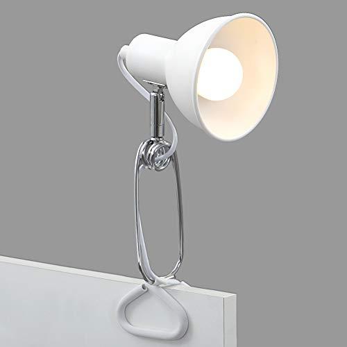 Briloner Leuchten Klemmleuchte, Klemmlampe, 1x E14, max. 8 Watt, inkl. Kabelschalter, Spotkopf dreh-und schwenkbar, Metall Weiß-Chrom, 305x110x130mm