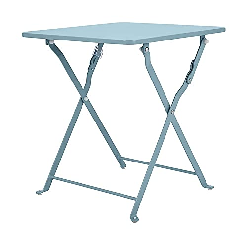 Folding Side Steel Coffee Table In Blue Garden Patio End Bistro Furniture Fully Assembled