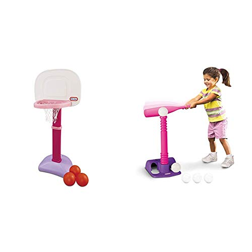 Little Tikes Easy Score Basketball Set (Pink, 3-Balls) and T-Ball Set (Pink, 5-Balls) - Bundle