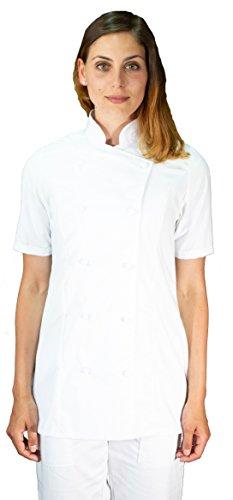 tessile astorino Ricamo Gratuito - Giacca Cuoco da Cucina - Casacca Chef Donna Manica Corta - Bianca - Made in Italy (XS)