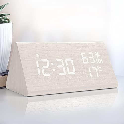 NBPOWER Wecker Digital LED Digitale Uhr Holz,Digitalwecker Tischuhr mit Sprachsteuerung/Snooze/Datum/Temperatur und Luftfeuchtigkeit, für Nachttisch, Schlafzimmer, Nacht Kinder und Büro- Weiß