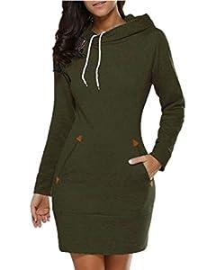 Celmia Women Long Sleeve Slim Hooded Pullover Zipper Tunic Sweatshirt Dress Hoodie with Pockets