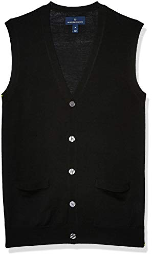 Amazon Brand - Buttoned Down Men's Italian Merino Wool Lightweight Cashwool Button-Front Sweater Vest, Black Large