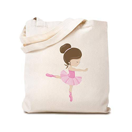 Custom Canvas Tote Reusable Shopping Bag Dancing 1 Leg Ballet Brown Girly Ballerina Baby Beach Bags for Kids Natural Design Only