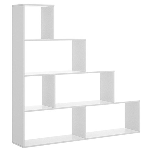 LIQUIDATODO ® - Estanteria en escalera de 4 huecos moderna y barata 145 cm en blanco brillo