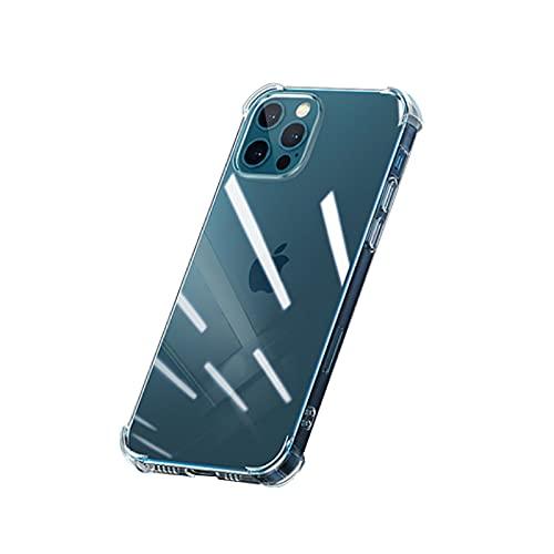 Funda para teléfono móvil iPhone 12 Pro, funda transparente para iPhone 12 Pro, carcasa de silicona TPU transparente con cristal blindado