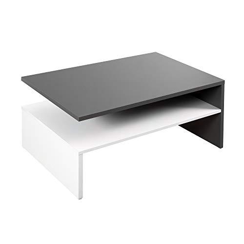 RICOO WM080-W-A, Kleiner Tisch, 90 x 60 x 42 cm, Holz Hell Weiß und Dunkel-Grau Anthrazit, Fernseher TV Wohnzimmer-Tisch, Couch-Tisch mit Stauraum