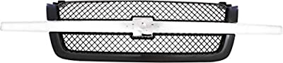Grille for Chevrolet Avalanche 03-06/Silverado 03-07 Mesh Painted-Gray W/Chrome Center Bar Base/LS/LTFits 2007 Classic