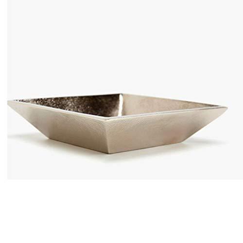 BJYG Cenicero; Living Home Aluminio Cuadrado Metal 100% Aluminio (Plata 16.0 X 16.0 X 3.5 Cm)