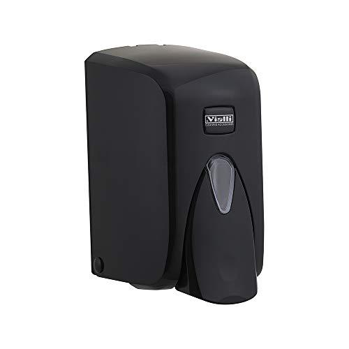 Vialli Seifenspender schwarz zur Wandbefestigung für Flüssigseife, Lotion, Shampoo nachfüllbar modernes Design 500 ml