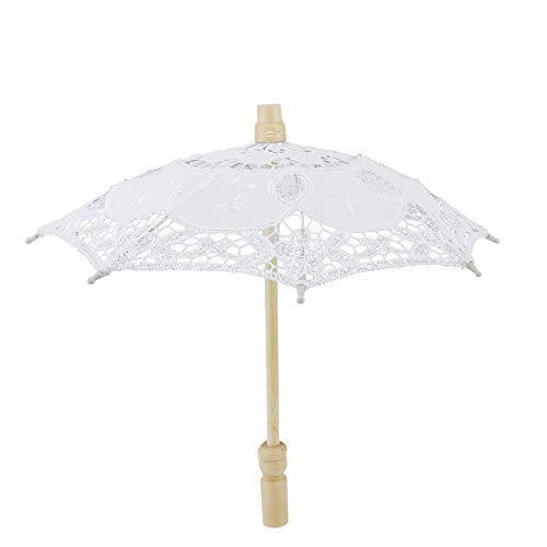 Paraguas De Encaje, Sombrilla Blanca Nupcial, Paraguas De Novia Bordado De Algodón Bordado Hecho A Mano Fotografía De La Boda Prop (Blanco)
