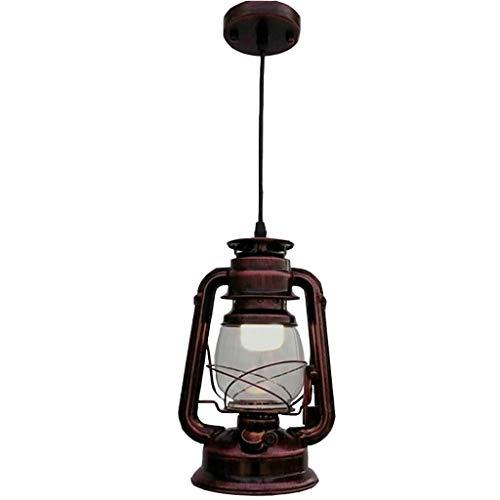 YIKE-Laternen Vintage Kronleuchter/Petroleumlampe, Dickes Glas hängende Linie LED Dekoration, geeignet für Wohnzimmer, Studie, Restaurant, Bar (rote Bronze)