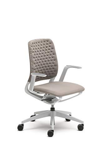 Sedus se:motion, Bürostuhl, lichtgrau/weiß, mit Armlehnen, Sitz- u. Rückenpolster in AIR KNIT lichtgrau, Kunststoff, 950 -1065 mm
