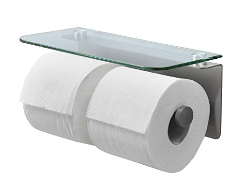 Top 10 best selling list for double roll toilet paper holder with covers and glass shelf
