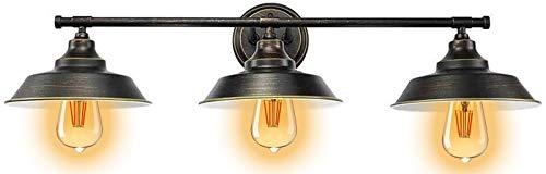 Aplique de Baño LED E27 Lámpara de Pared Antigua Vintage, Baños Luces del Espejo 3 Luminarias Montaje en la Pared Luz de Pared de la Iluminación para Salón/Dormitorio/Estudio/Cocina/Cuarto de Baño,A