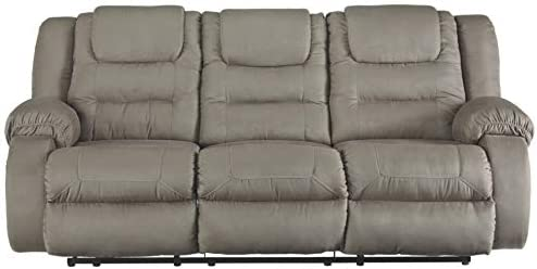 Signature Design by Ashley - McCade Contemporary Dual-Sided Reclining Sofa - Pull Tab Reclining - Gray