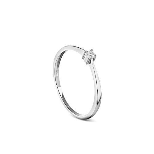Miore Schmuck Damen 0.05 Ct Diamant Verlobungsring mit Solitär Brillant Ring aus Weißgold 9 Karat/ 375 Gold