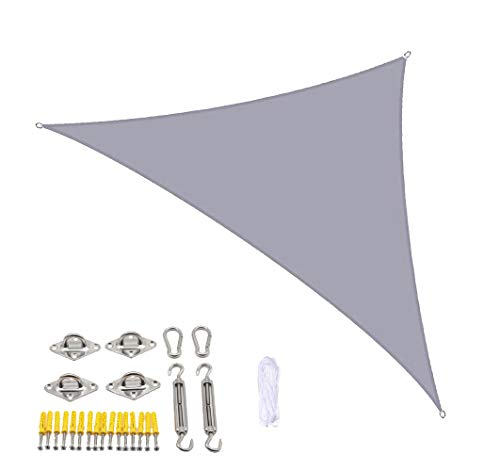 LIFOOST Sun Shade Sail Hardware Kit Hook Set Pergola Backyard Waterproof Outdoor Yard Garden Patios Party Sunscreen Awning 3x3x3m Triangle Canopy 98% UV Awning Canvas (Grey)