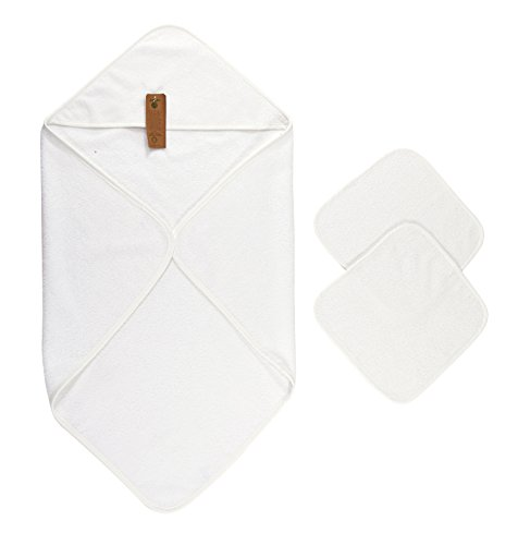 Price comparison product image Arus Baby Organic Turkish Cotton Terry Hooded Nursery Towel Wrap Set,  White,  35 x 35 inches