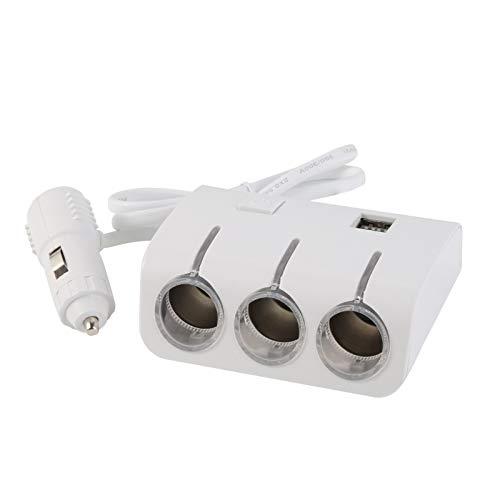 Lsmaa Cargador de coche, doble puerto de carga USB, 3 vías, protección inteligente, diseño elegante con indicador LED azul, adecuado para la mayoría de los encendedores de cigarrillos de 12 V - 24 V