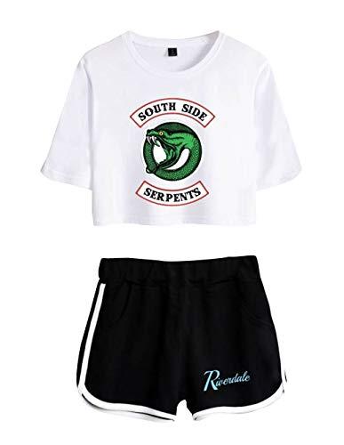 Riverdale Southside Serpents Magliette Tumblr Ragazza e Shorts Estate Camicia a Maniche Corte Crop Top Donna Sexy Elegante Camicetta Casuale Top Tees T-Shirt E Pantaloncini (4, M)